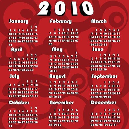 Calendar for 2010 Vector