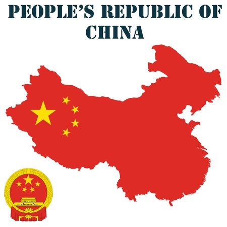 people's republic of china: Map, flag and coat of arms for Peoples Republic of China Illustration