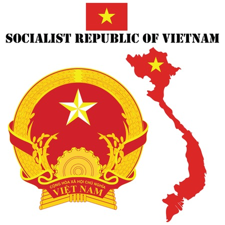 Map flag and coat of arms for Vietnam Vector