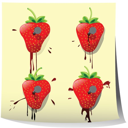 nailed: Strawberries nailed on paper