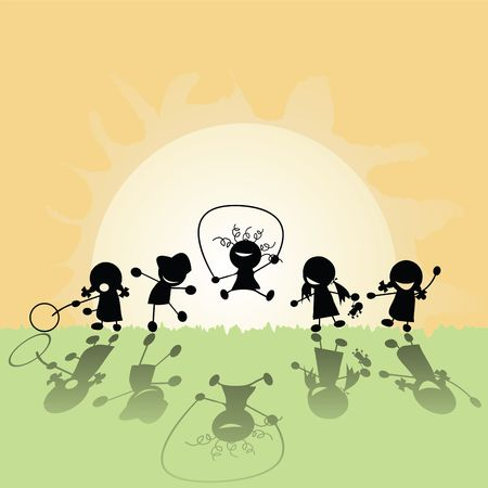 Group of children playing in the sun photo