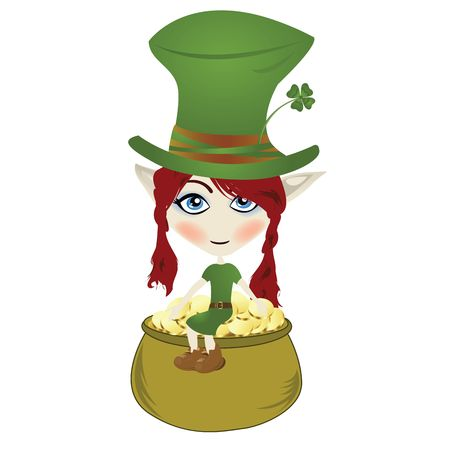 Happy little Leprechaun enjoying pot of gold photo