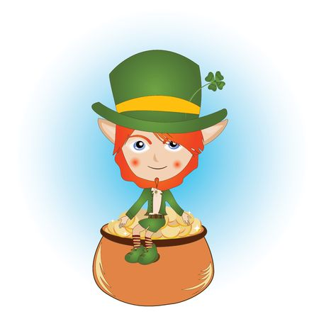 Saint Patricks Day card with leprechaun and pot of gold photo