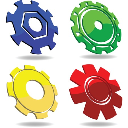 perfect fit: Gear icons in various colors over white background Illustration