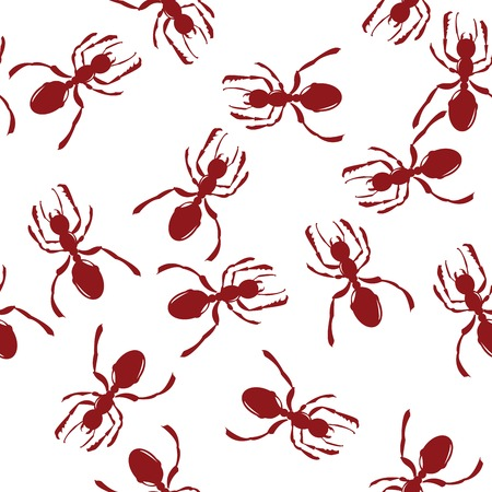 Pattern with red ants over white Vector