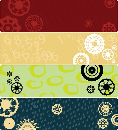 Four web banners or backgrounds with stylized gears. Highly detailed in various colors. Stock Vector - 6564150