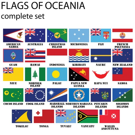 polynesia: Flags of Oceania, all countries in original colors Illustration