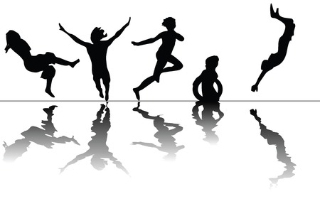 swiming: Children swiming- stylized silhouettes of children jumping and swimind