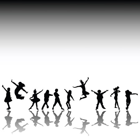 urban dance: Happy kids, hand drawn silhouettes of children dancing and playing