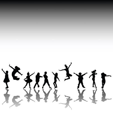 Niños felices, mano dibujados siluetas de los niños, bailando y jugando
