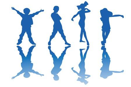 Happy children silhouettes, atitude Vector