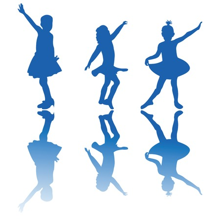 pirouette: Dancing stars, silhouette of three little girls performing