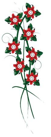 flower market: Floral arangement, red flowers bouquet over white background Illustration