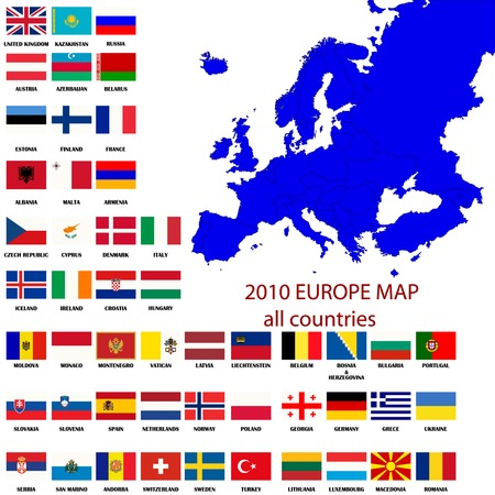 iceland flag: Editable map of Europe- all countries with borders and oficial flags in original colors