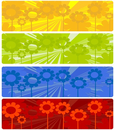 Four web banners with floral design over white background Vector