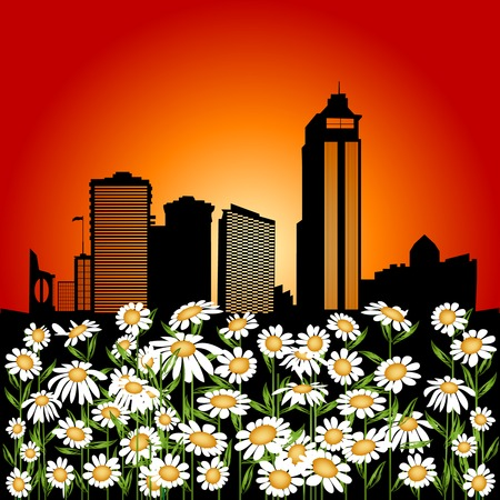 Abstract illustration with flower and urban city background Vector