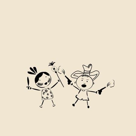 Children at play, clip art Stock Vector - 6701394
