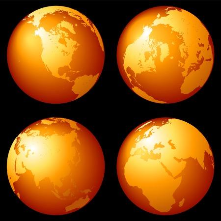 Earth globes set in bronze over black