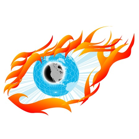 Eye sketch, tatoo with globe and flames Stock Vector - 6767258