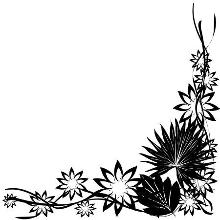 fancy border: Decoraci�n de cosecha, frontera de esquina con flores y hojas