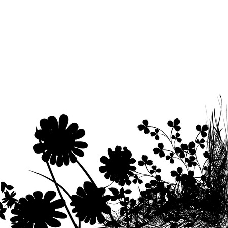 Foliage background, flowers silhouette and grass Stock Vector - 6767261
