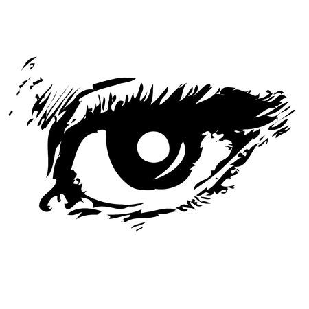 dark face: Mans eye, sketch of an eye over white background Illustration