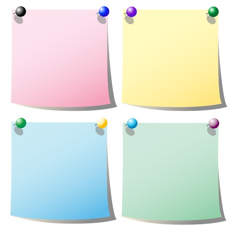 Color notes with holding pins Stock Vector - 6855125