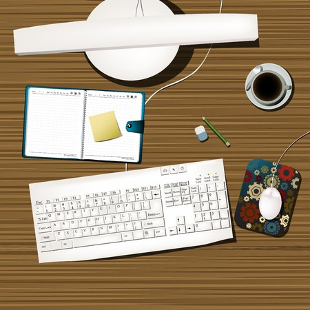 office cubicle: Overview of a working desk