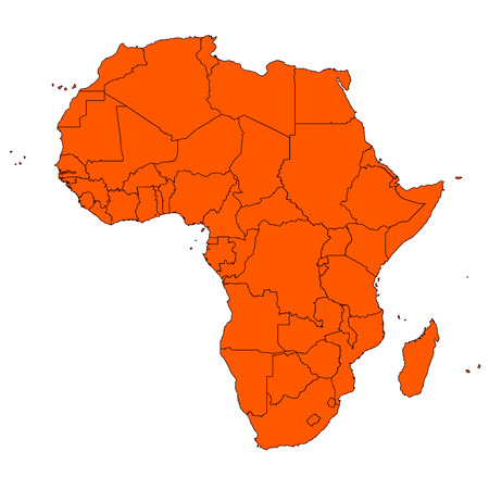 Editable map of Africa and islands Vector