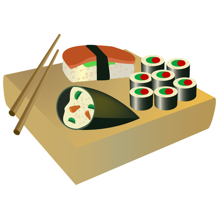 Traditional japanese food on a wood and chopsticks Vector