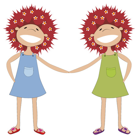 illustration of twin sisters holding hands Vector