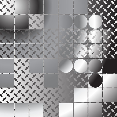 perforated: Abstract metallic background, composition with metal sheets Illustration
