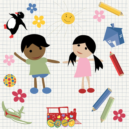drawing board: Childlike writing and drawing Illustration