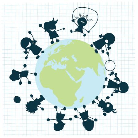 Children arround the globe, clip art Stock Vector - 6855162