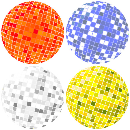 Disco globes in various colors Illustration