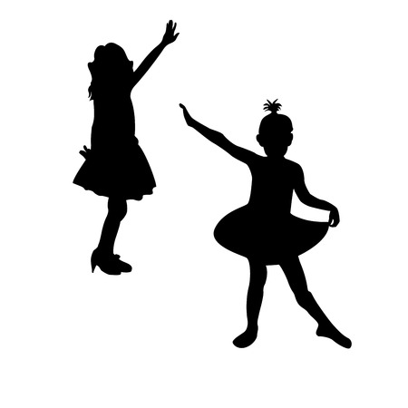 Little girls dancing illustration, isolated silhouettes Stock Vector - 6855180