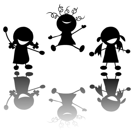 happy little girls silhouettes over white background Vector