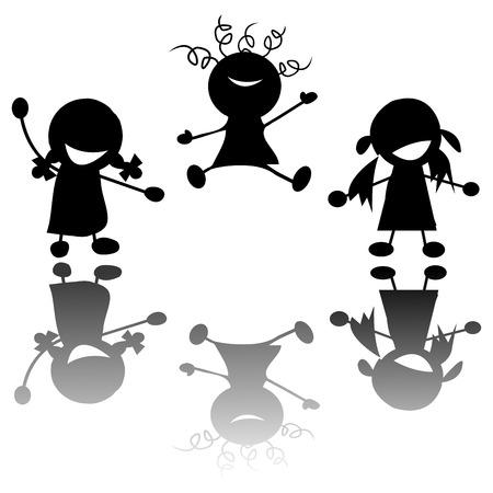 kinder:  happy little girls silhouettes over white background Illustration