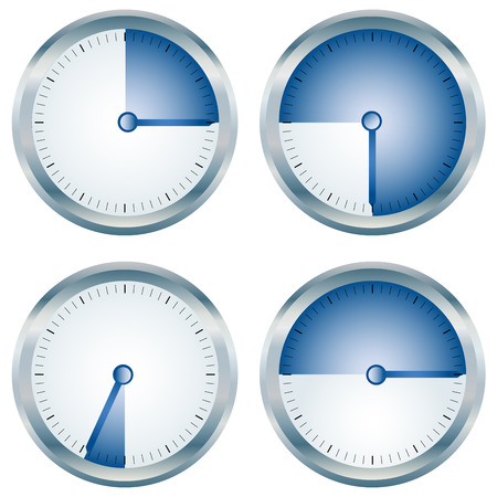 metering: Glossy blue timers collection over white Illustration