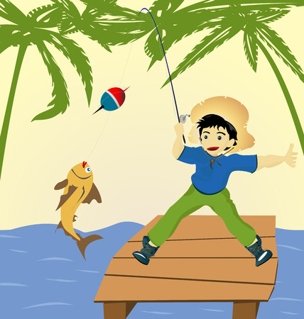 Illustration with a boy fishing Vector