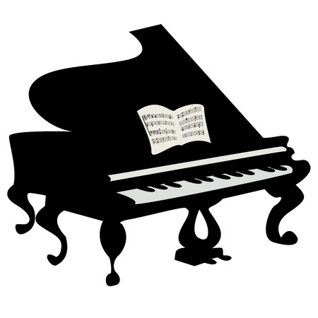 grand open: Grand piano illustration, isolated object over white background