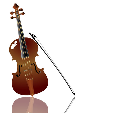 Bow and violin over white background Stock Vector - 6986556