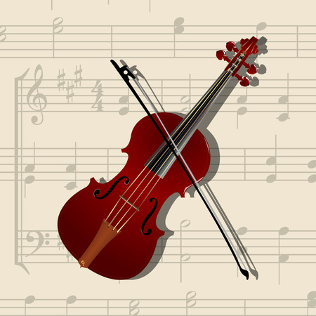 composition with classical violin and musical notes background Vector