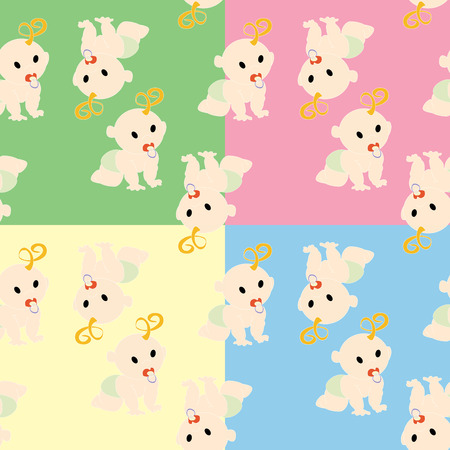 Pattern with babies in colors Vector