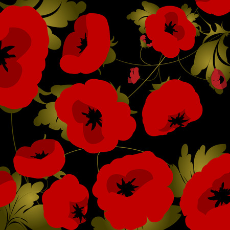 Background illustration with poppies over black Vector