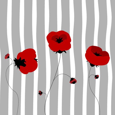 Poppies in the spring, clip art Vector
