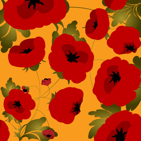 Seamless background with poppies Vector