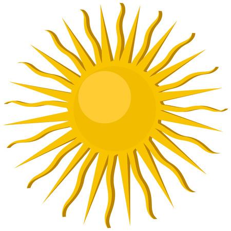 rooster at dawn: Icona di Sun, oggetto isolato su sfondo bianco Vettoriali