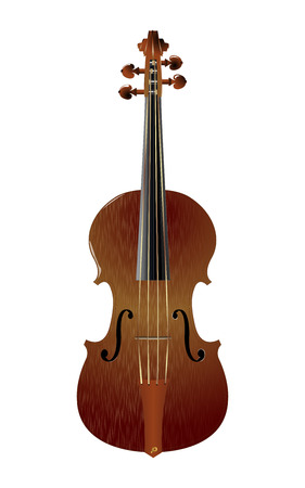 fiddle bow: Traditional violin, isolated object over white background Illustration