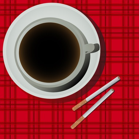 cofee cup: Cofee cup and cigarettes illustration